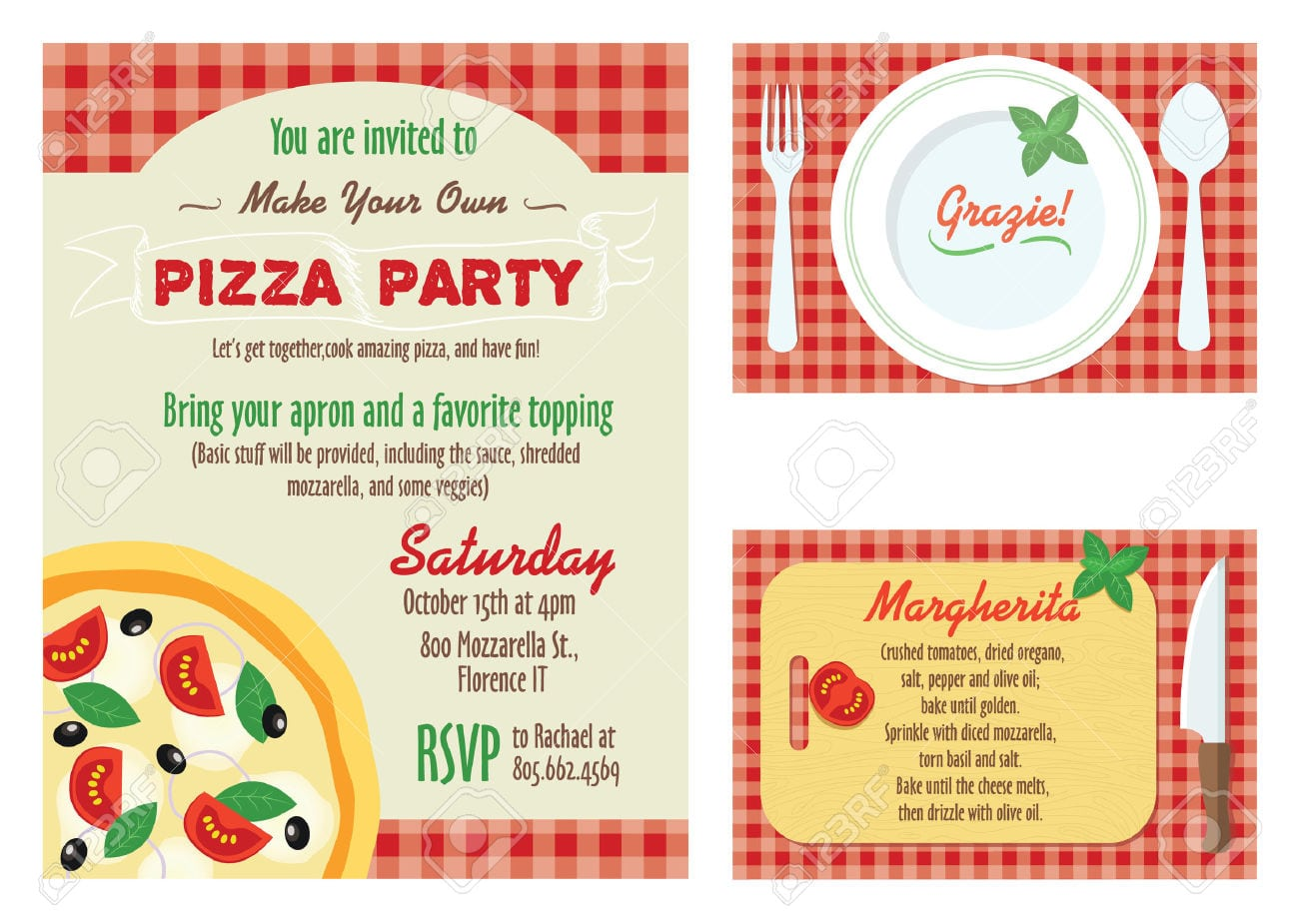 Vector Make Your Own Pizza Party Invitation Set  Recipe Card