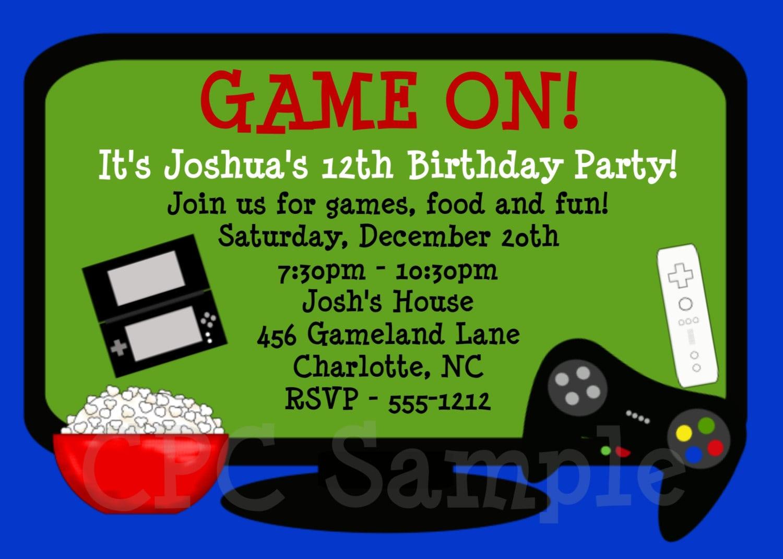 Video Games Birthday Invitation Video Game Birthday Party