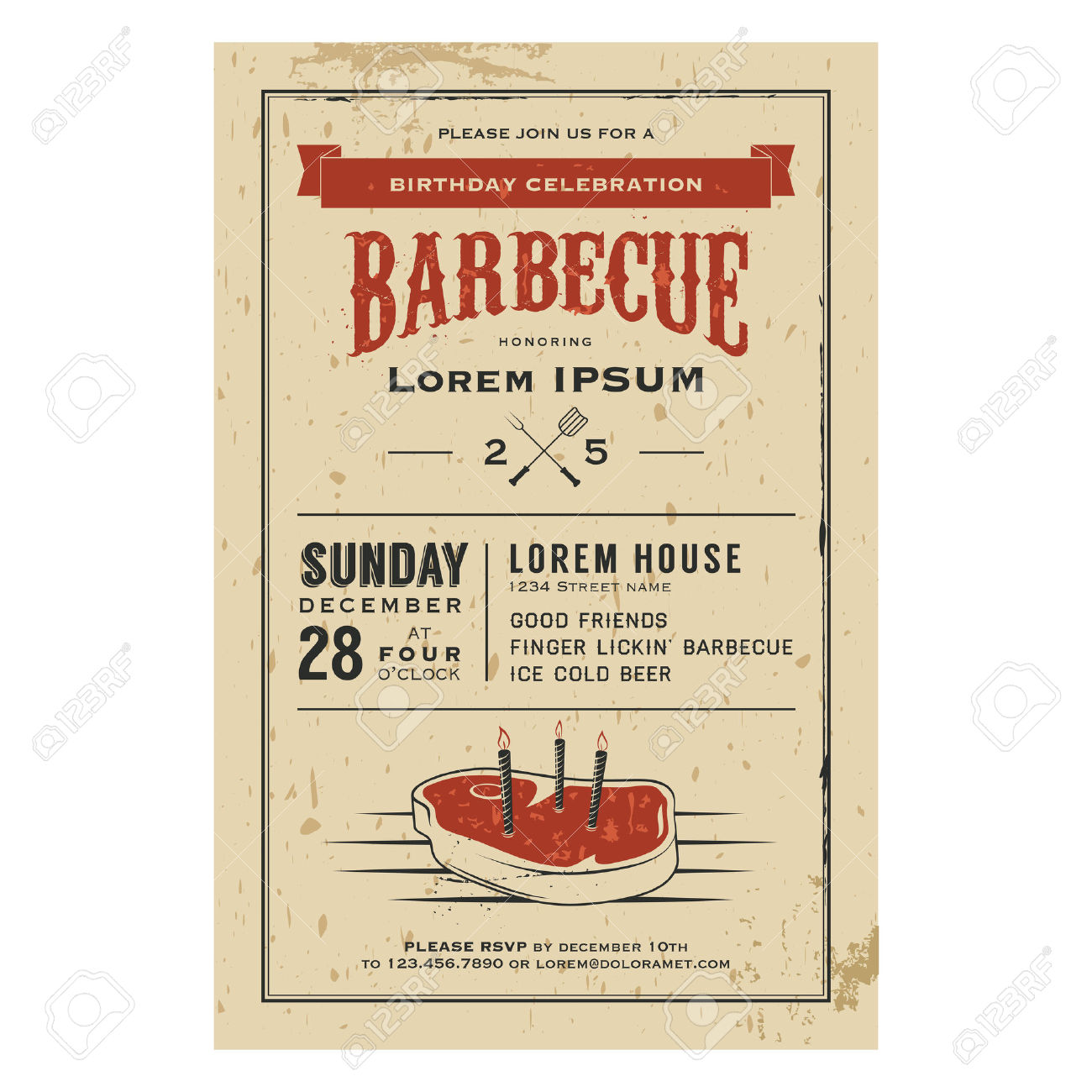 Vintage Birthday Party Barbecue Invitation Royalty Free Cliparts