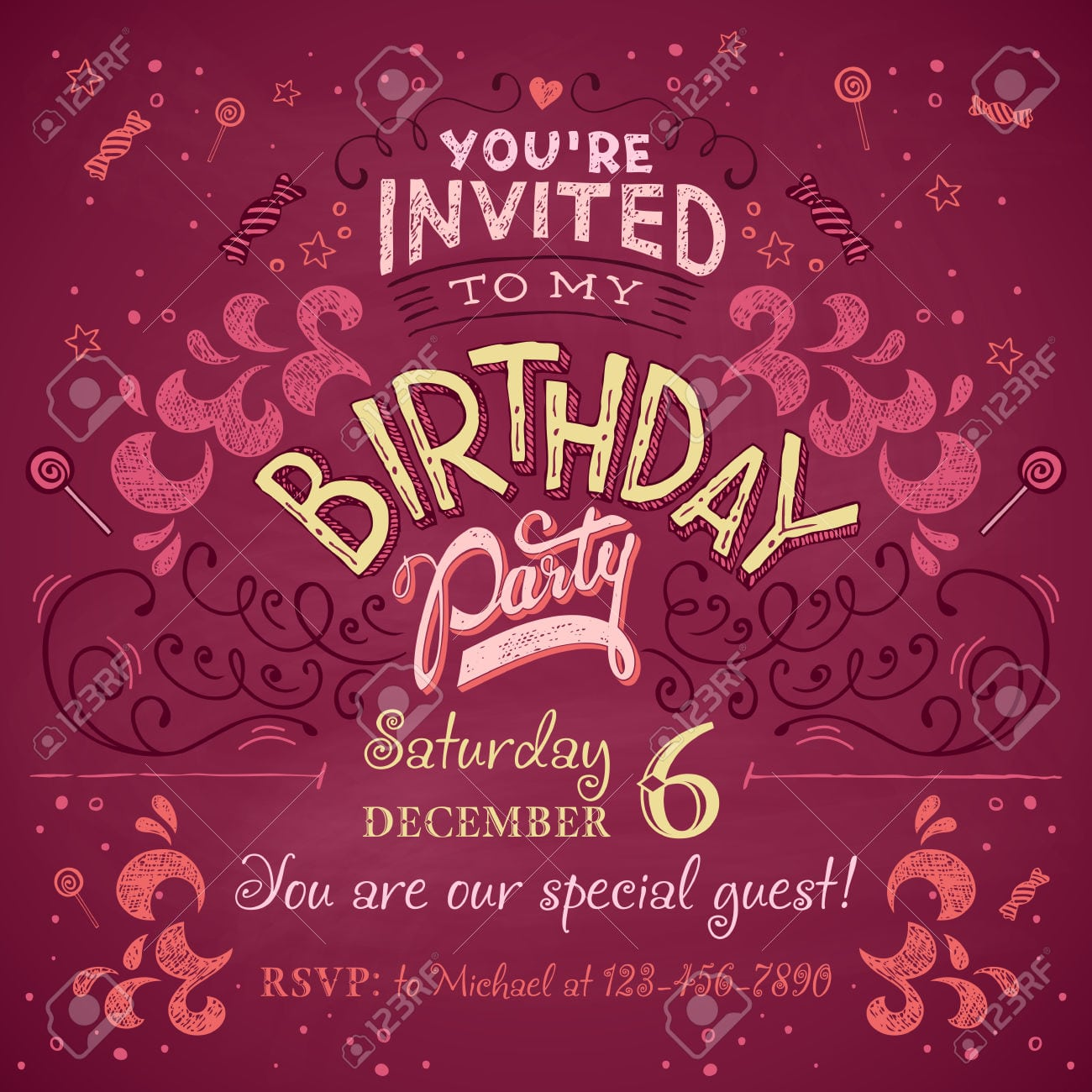 Vintage Birthday Party Invitation Card Design Typography And