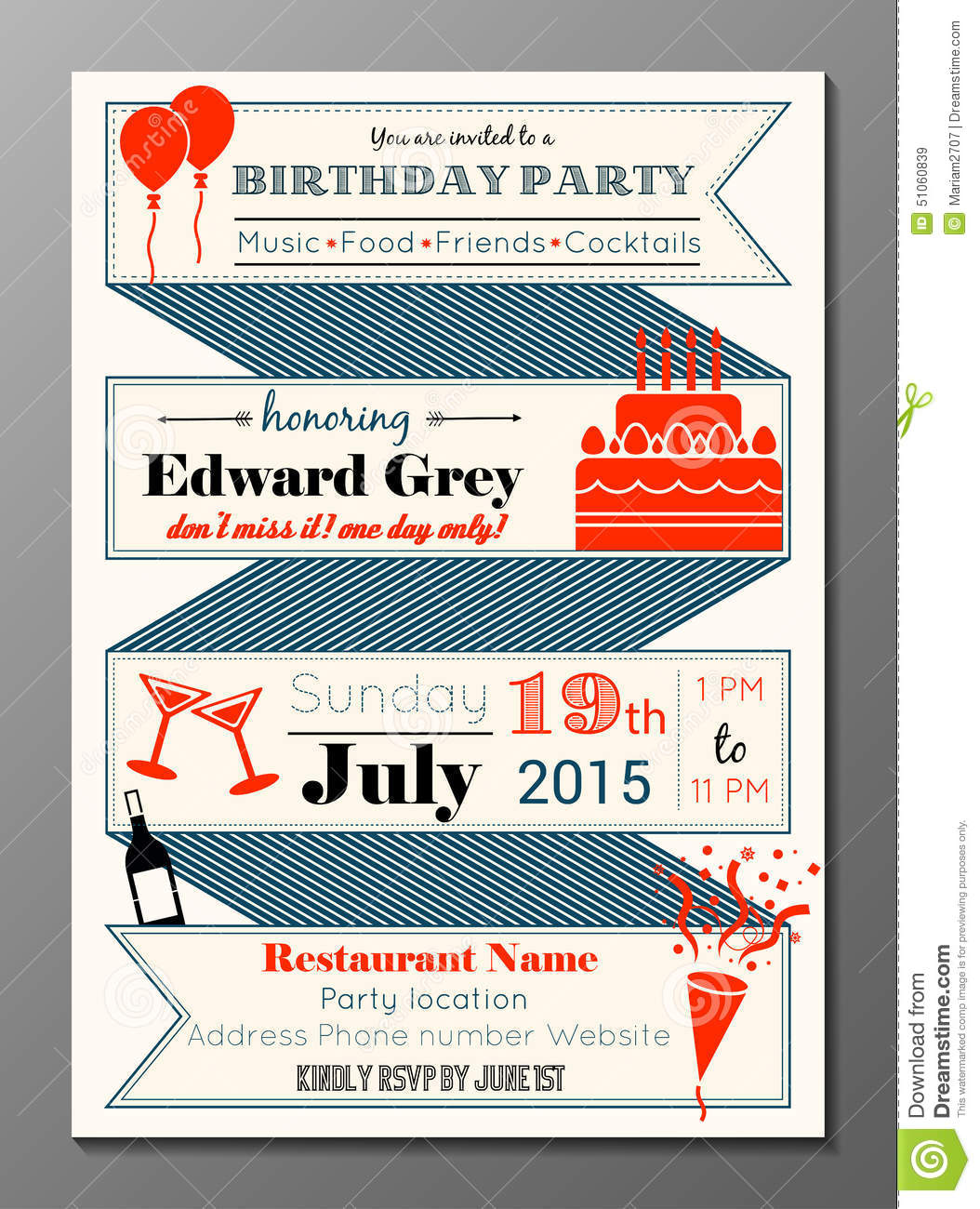 Vintage Birthday Party Invitation Card Stock Vector