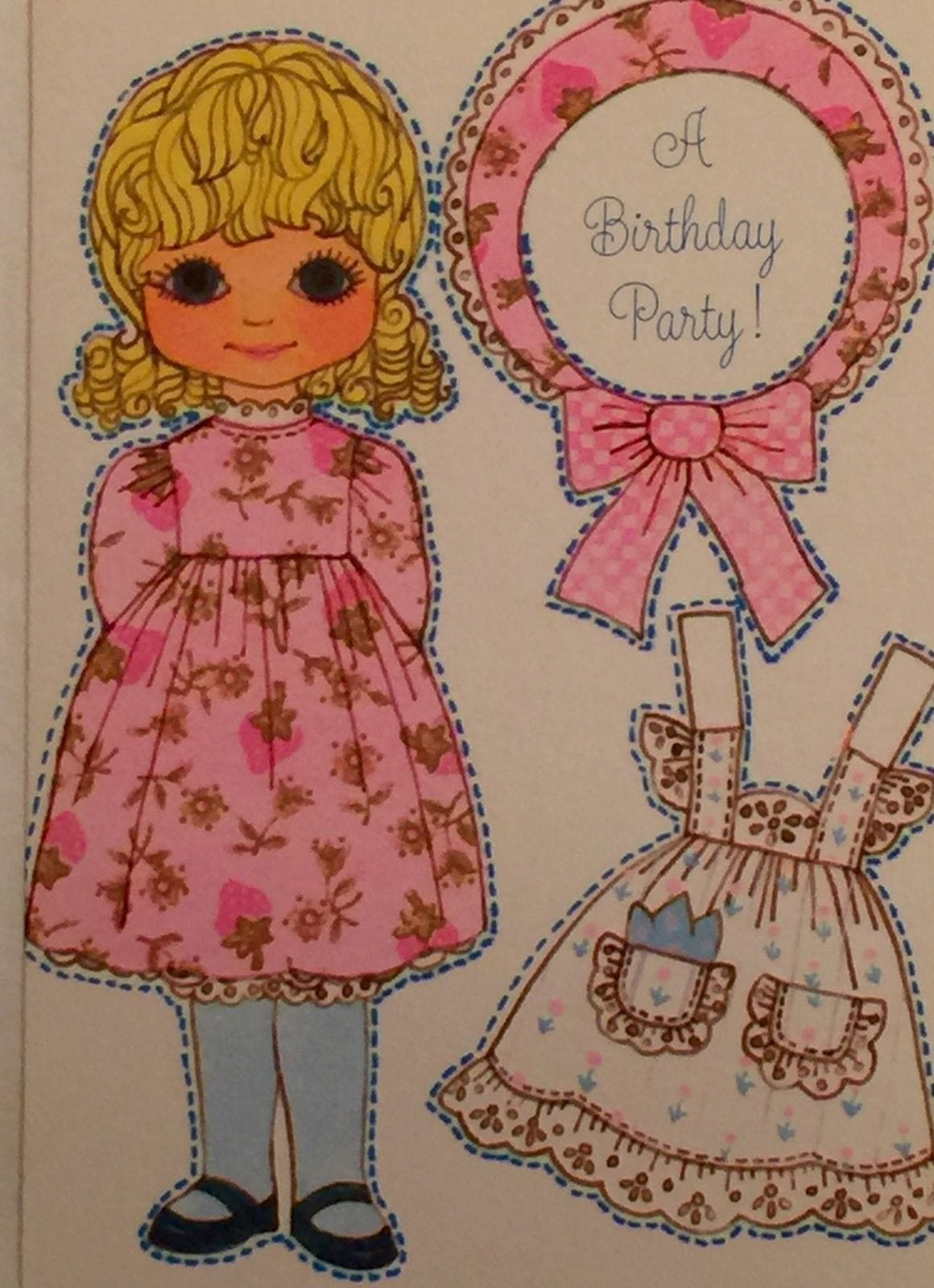 Vintage Hallmark Greeting Card Paper Doll Party Invitation