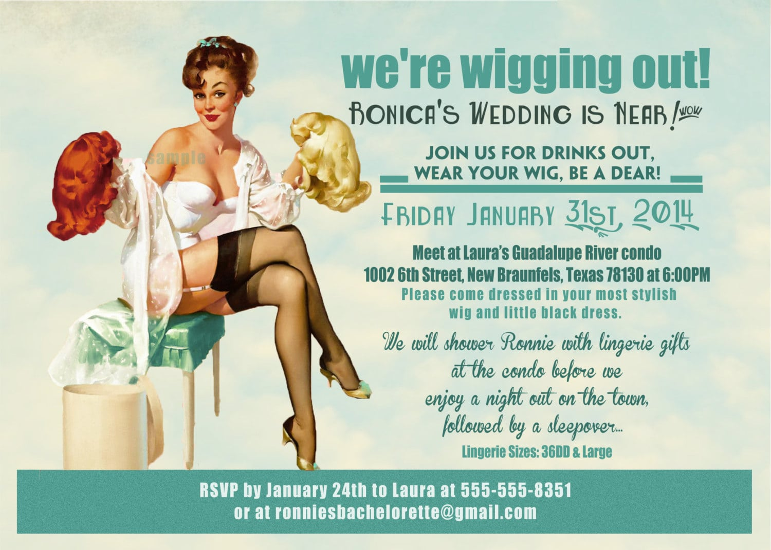 Vintage Pin Up Girl Wig Party Invitation Bachelorette Party
