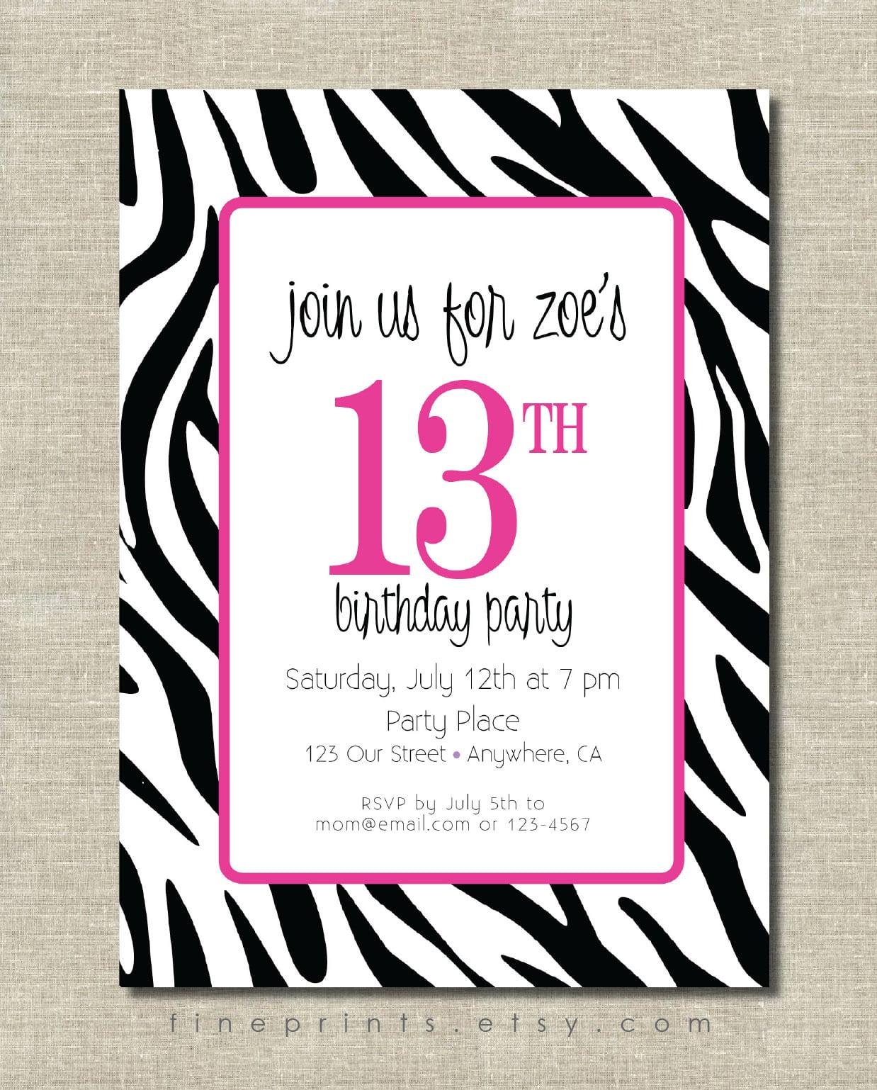 Zebra print party invitations stopboris Gallery