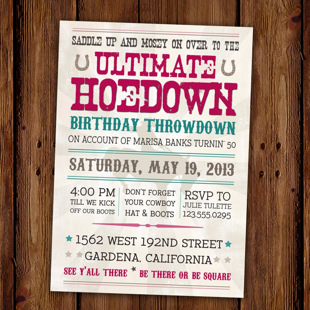 Western Party Invitation Wording