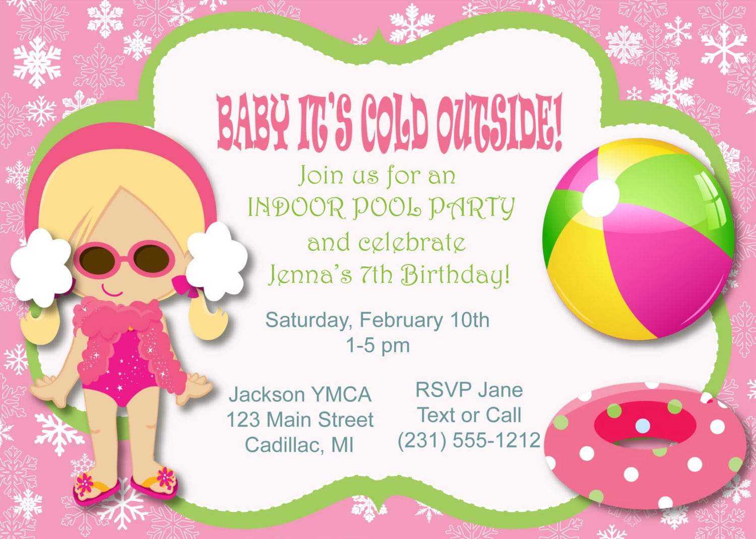 Winter Pool Party Birthday Invitation Indoor Pool Party