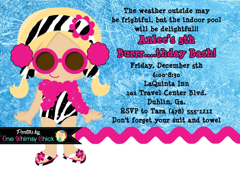 Winter Pool Party Birthday Invitation, Printable Or Printed