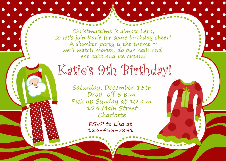 Wonderful Christmas Birthday Party Invitations