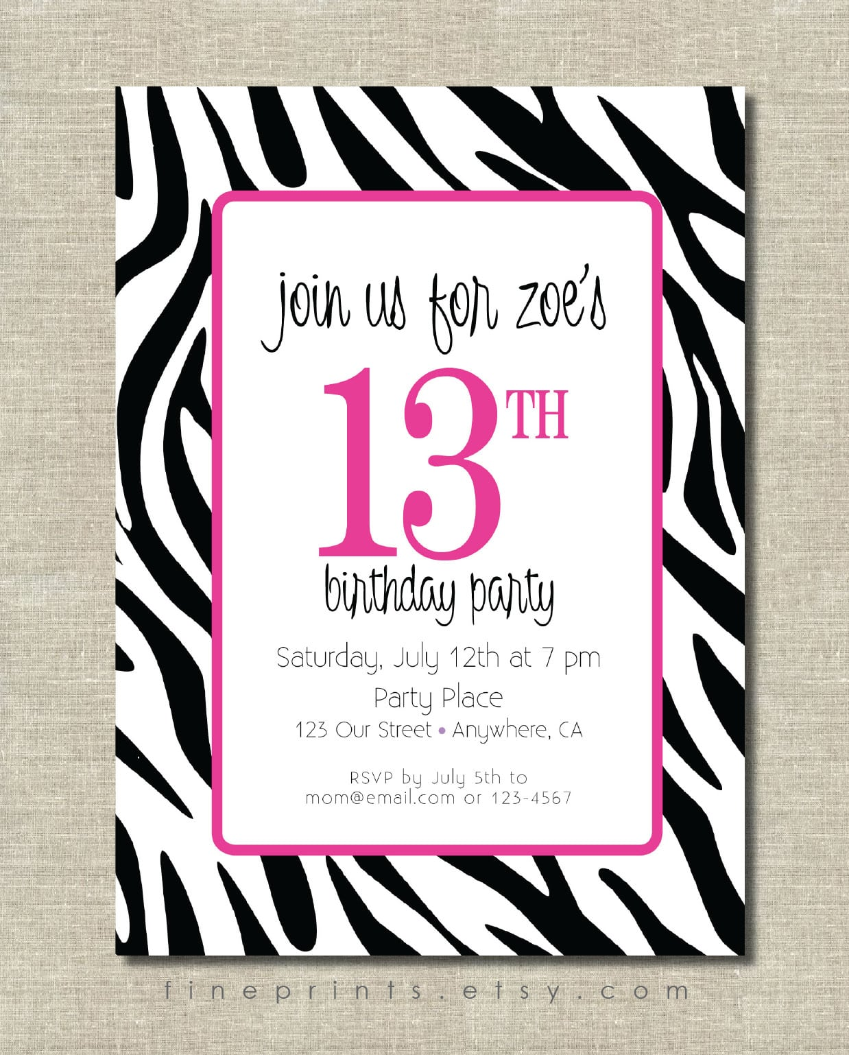 Zebra Birthday Party Invitations