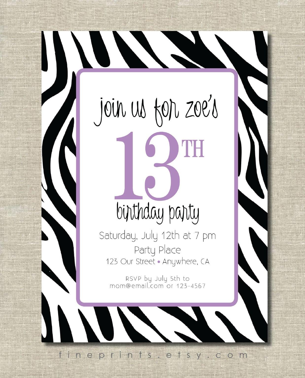 Zebra Birthday Party Invitations