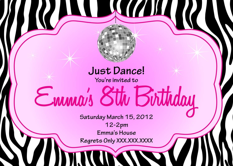 Zebra Disco Diva Birthday Printable Invitation