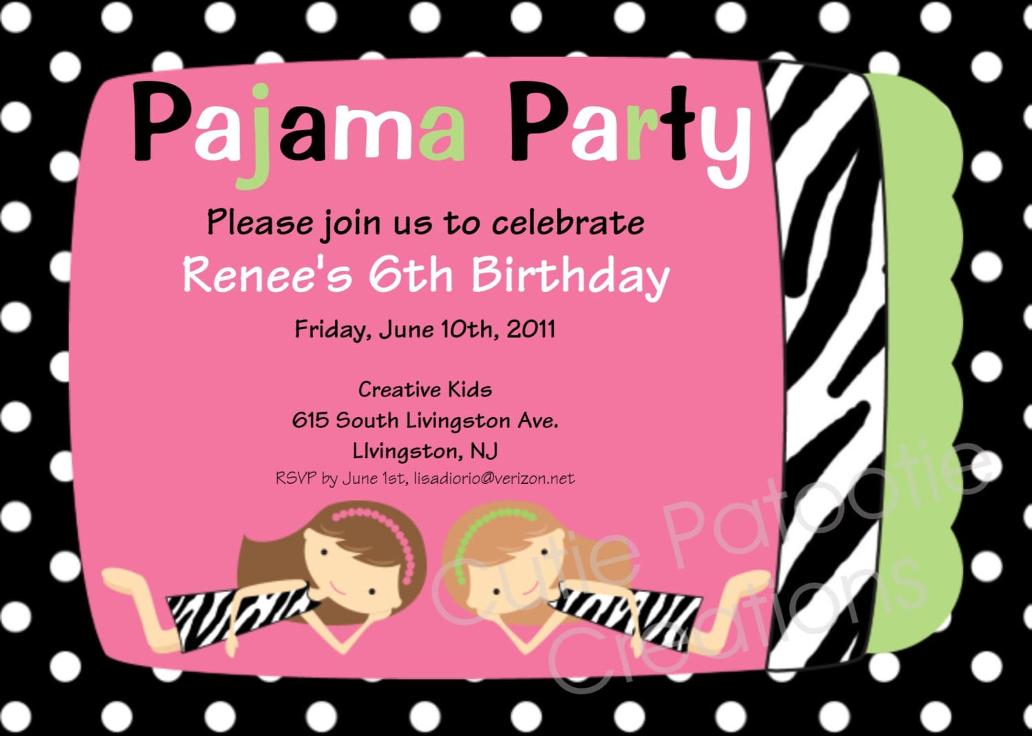 Zebra Print Pajama Birthday Party Invitation With Pink Background