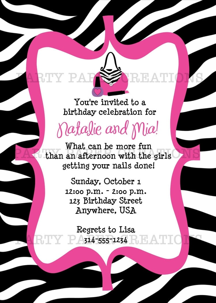 Zebra Print Party Invitations