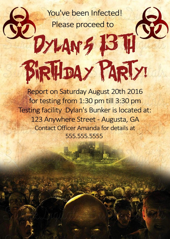 Zombie Apocalypse Dead Walk Again Birthday Party Invitation