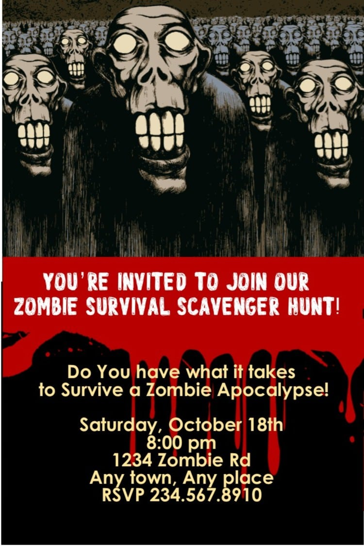 Zombie Theme Halloween Invitations And Favors  Walking Dead Party