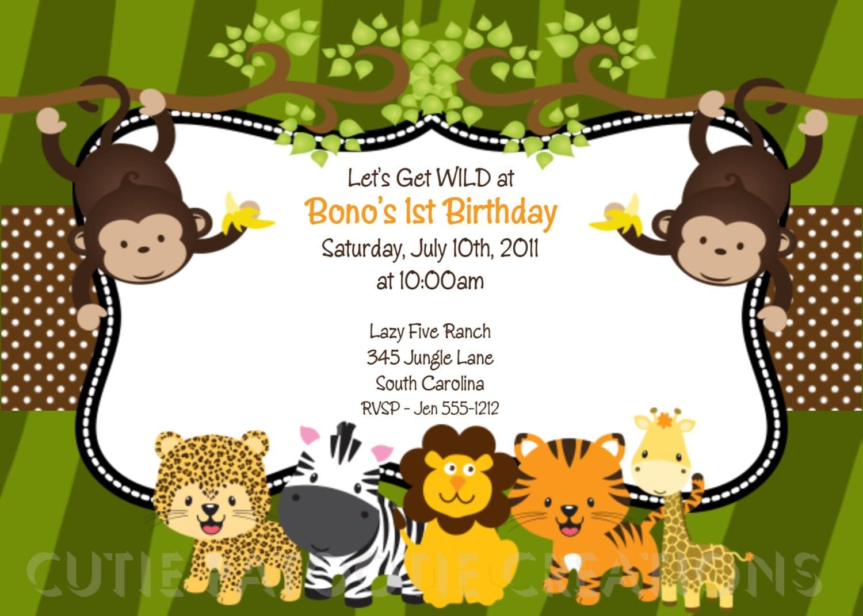 Zoo Themed Birthday Party Invitations