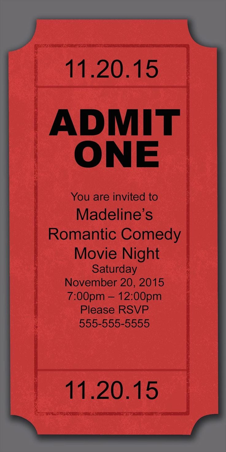 Movie Night Birthday Party Invitations - Mickey Mouse Invitations ...