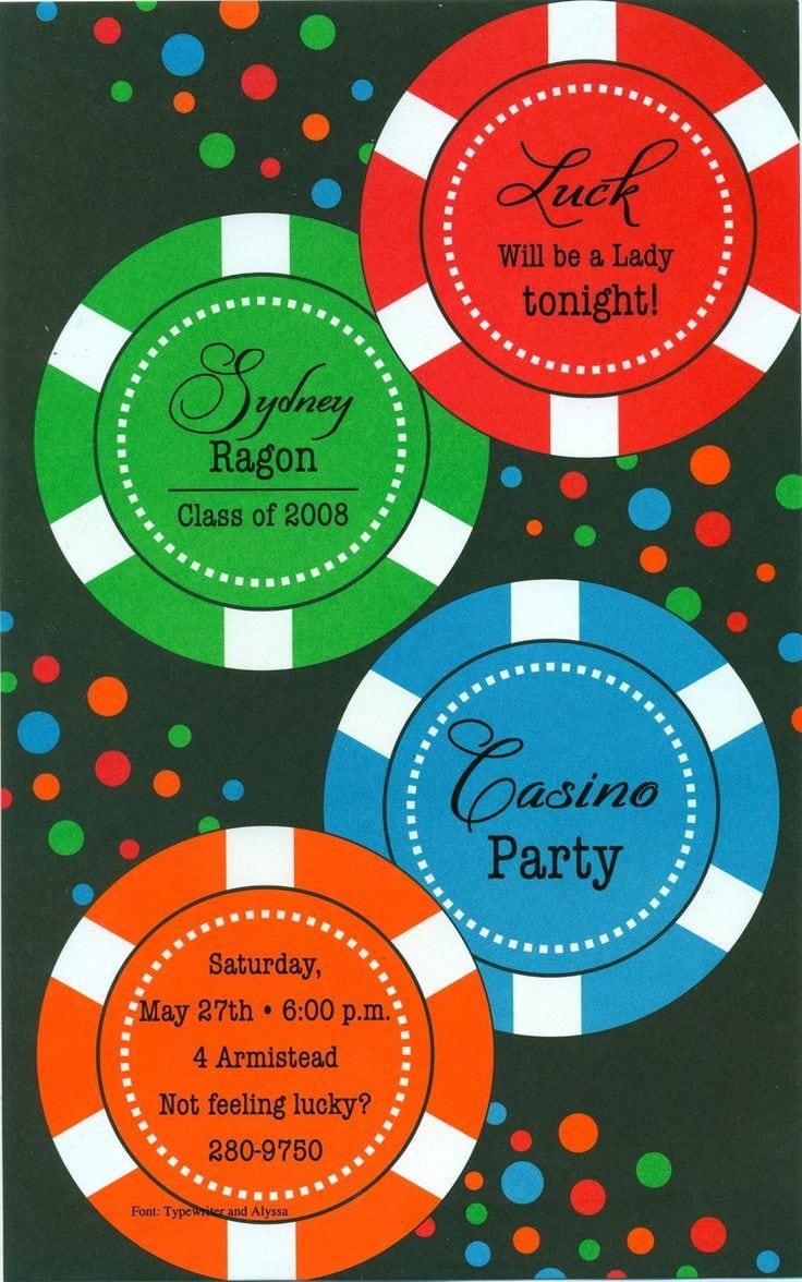 Casino Party Invitation Wording - Mickey Mouse Invitations Templates