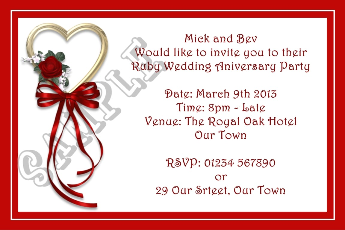 40th Wedding Anniversary Party Invitations - Mickey Mouse ...