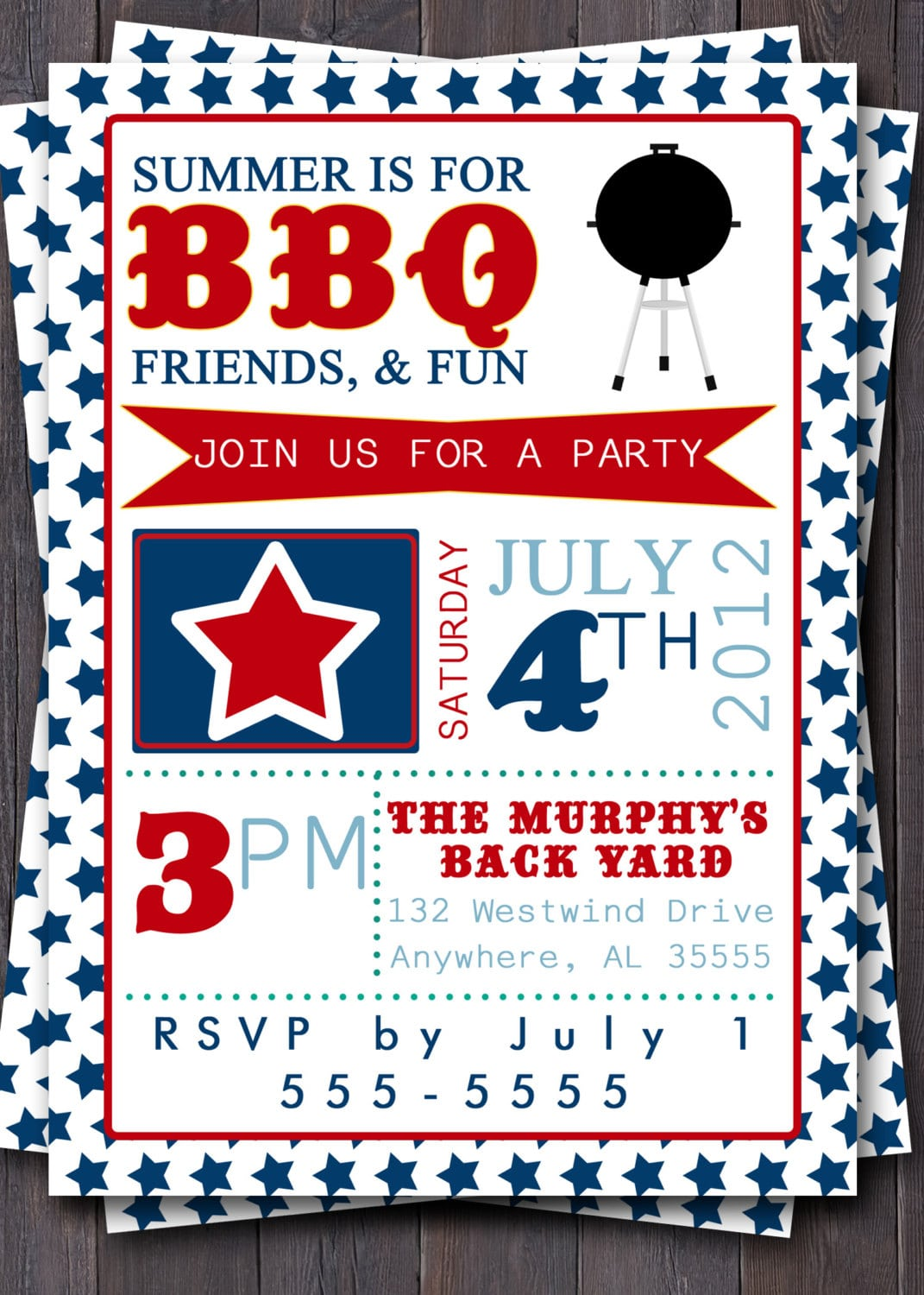 4th Of July Typography Invitation  Stars, Red, White, & Blue  Bbq