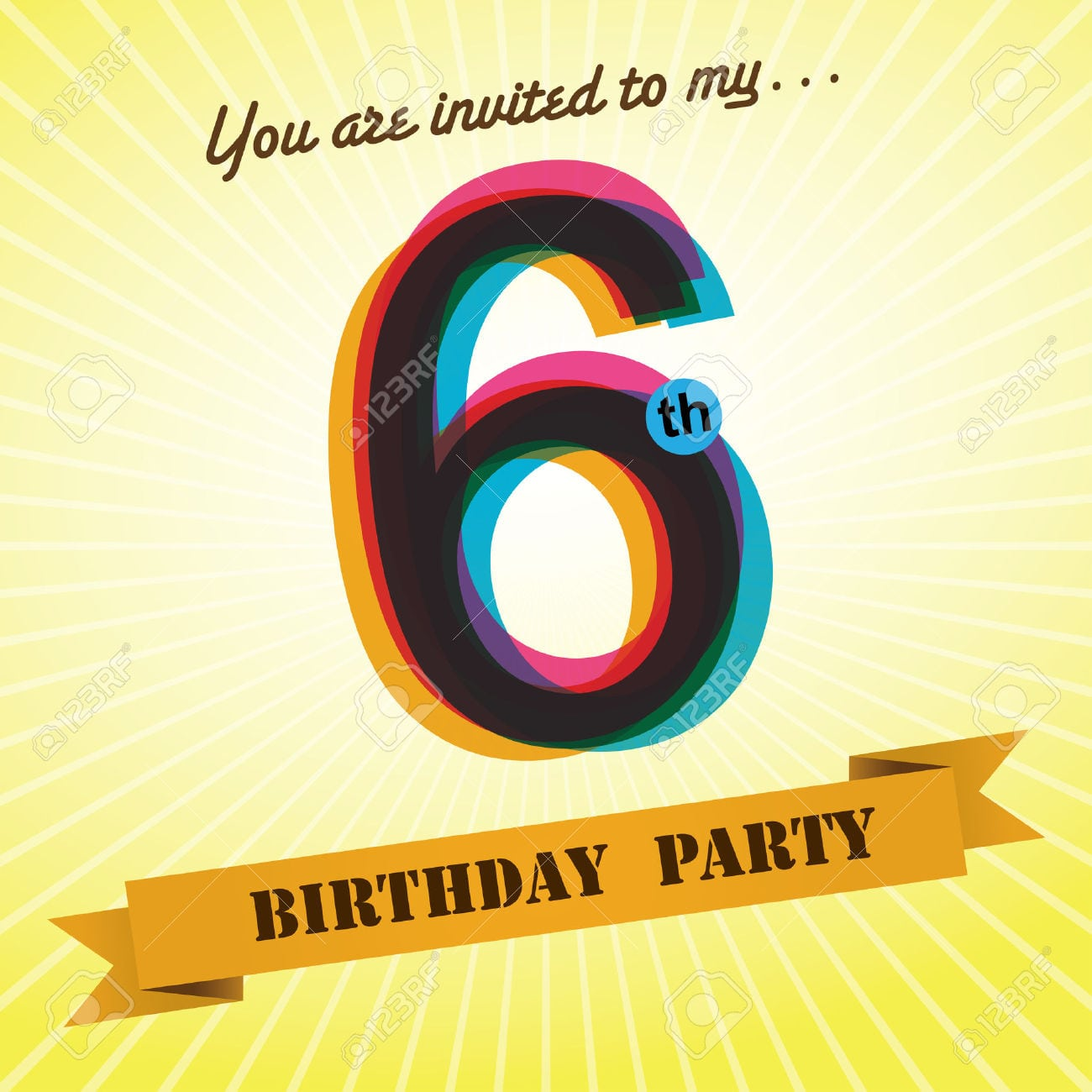 6th Birthday Party Invite Template Design Retro Style