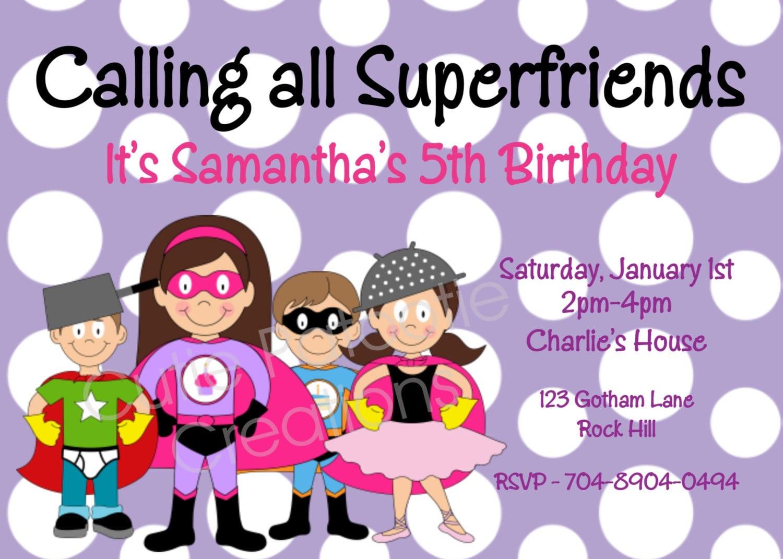 Girl superhero party invitations mickey mouse invitations templates 7 extraordinary superhero girl party invitation monicamarmolfo Choice Image