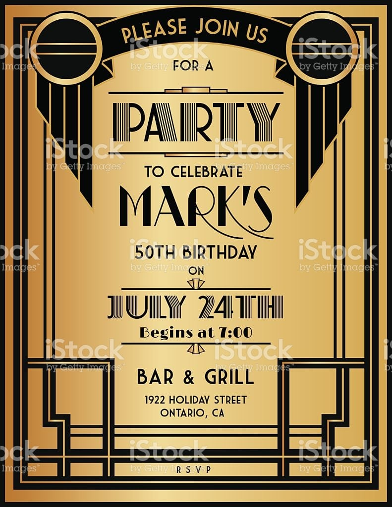 Art Deco Party Invitation Template In Black And Gold Royalty