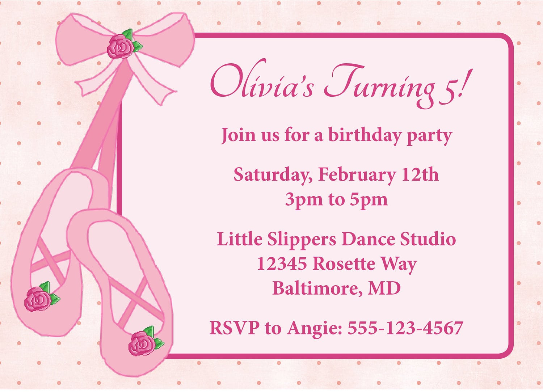 Ballerina Birthday Invitations For Girly Birthday Party