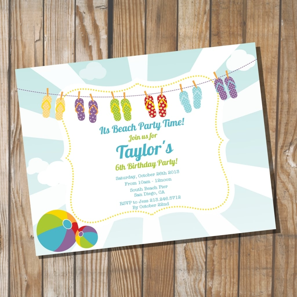 Beach Themed Party Invitations