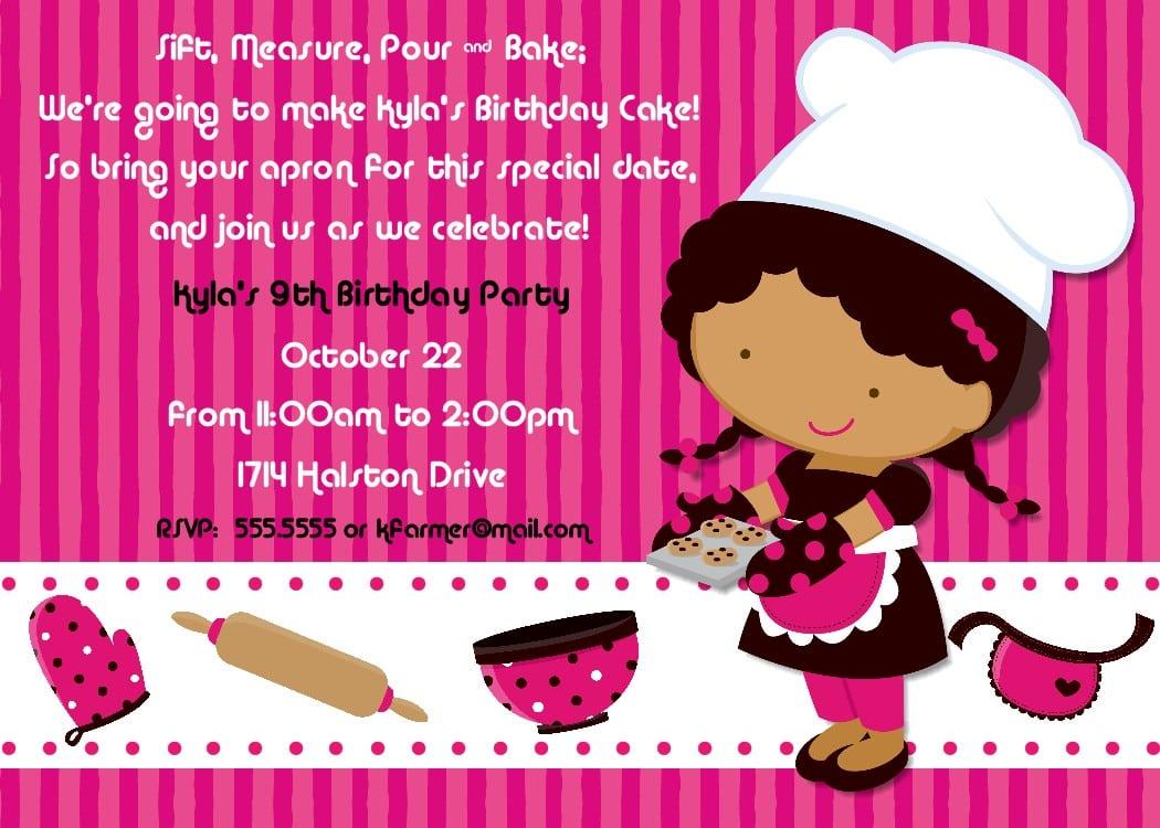 Bear River Photo Greetings  Baking Birthday Party Invitation