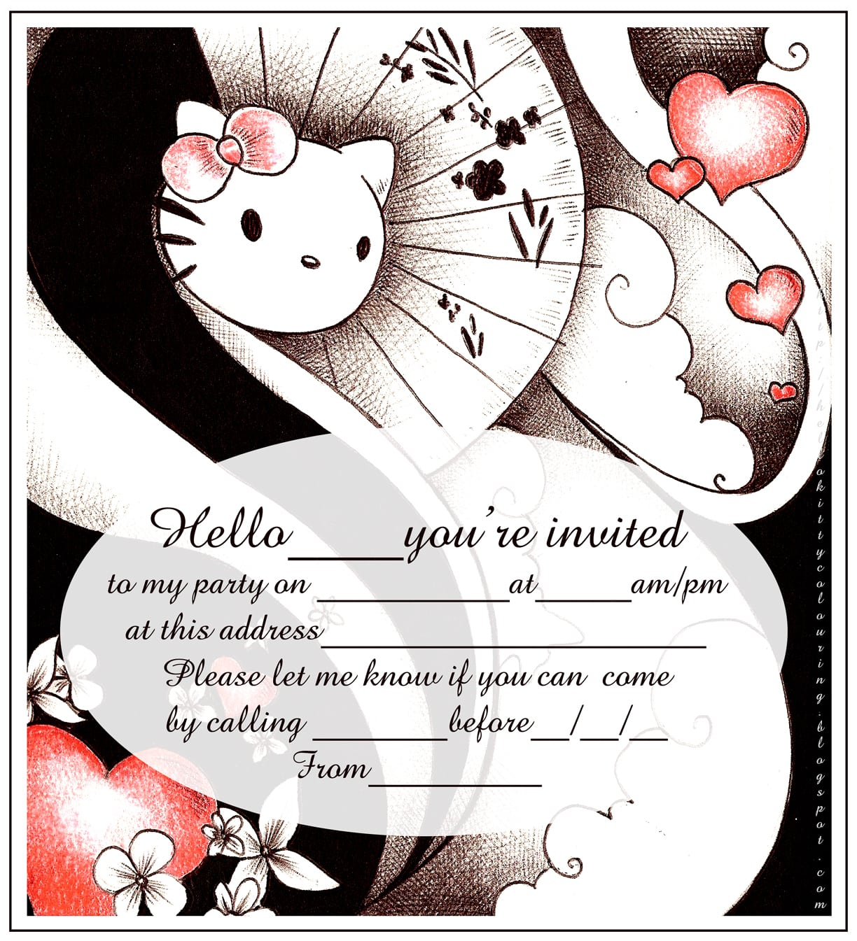 Birthday Party Invitations Coloring Pages