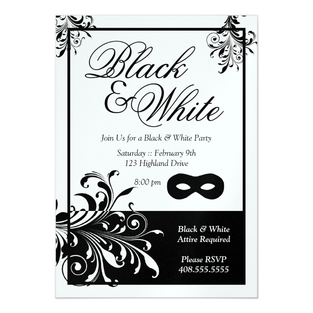 Black And White Party Invitations Templates - Mickey Mouse ...