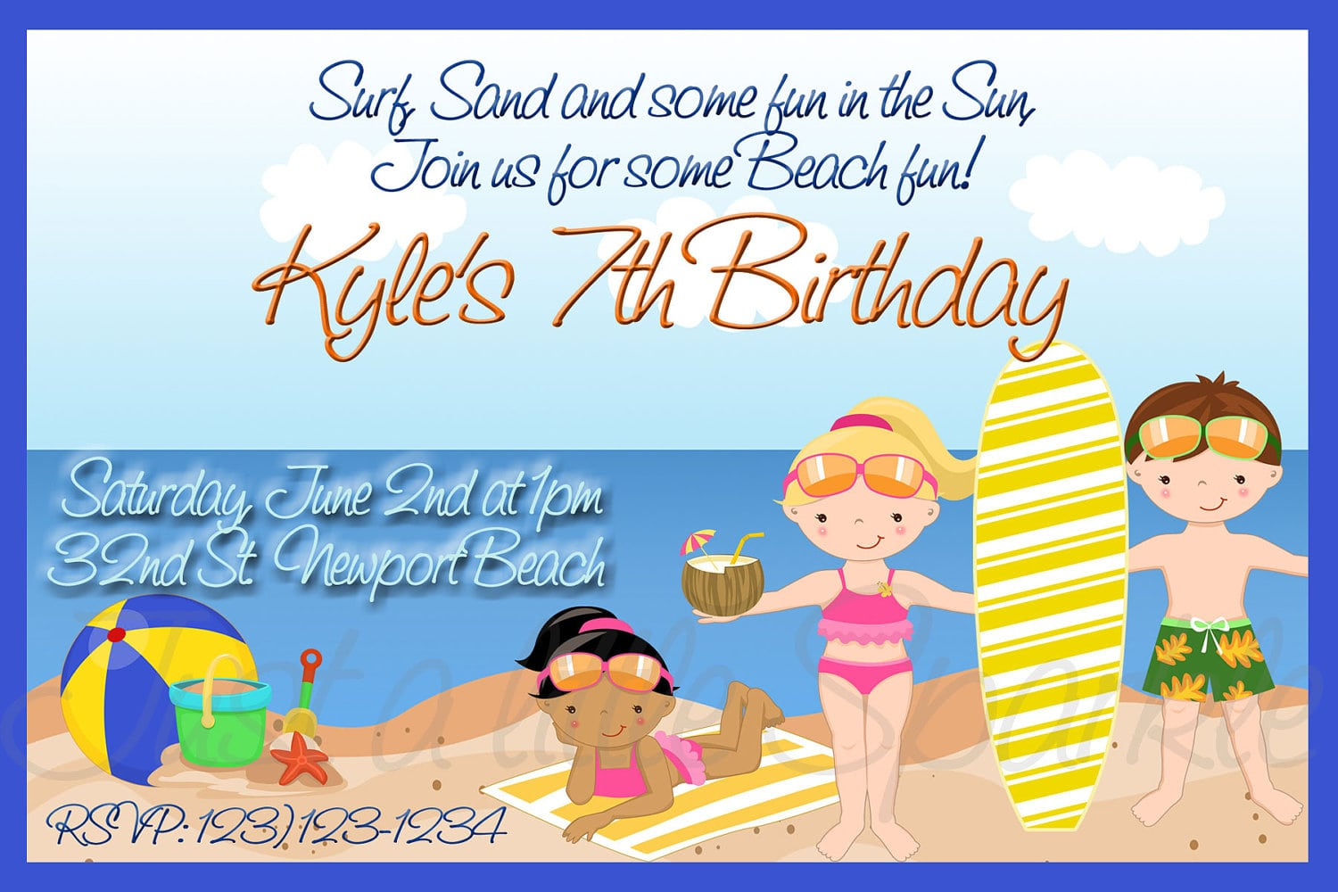 Kids Beach Party Invitations - Mickey Mouse Invitations Templates