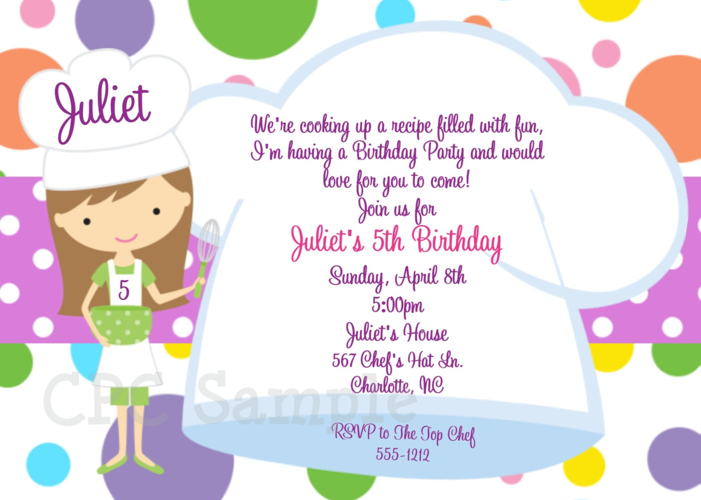 Cooking Party Invitation Baking Birthday Invitations
