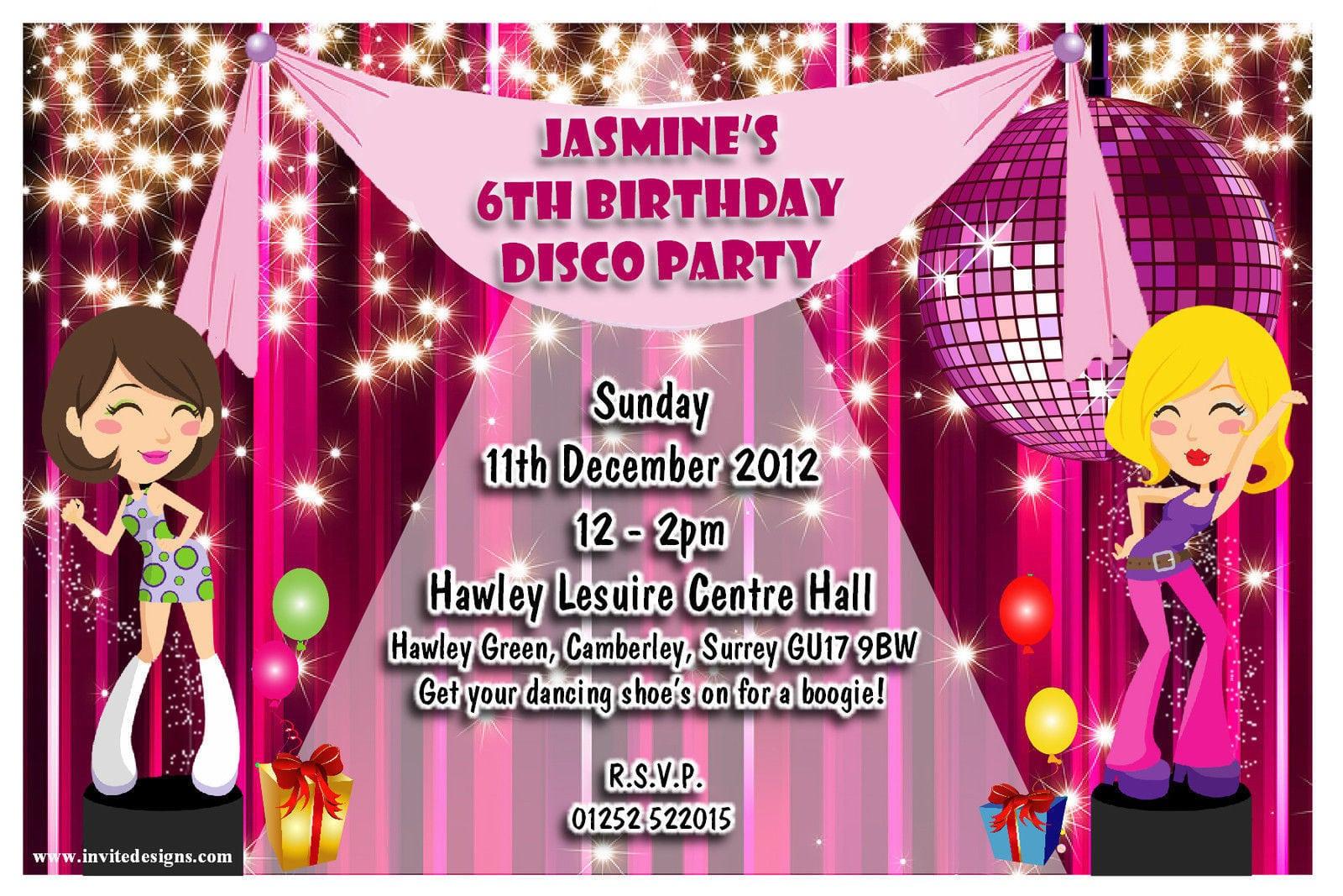 Disco Theme Party Invitations - Mickey Mouse Invitations Templates