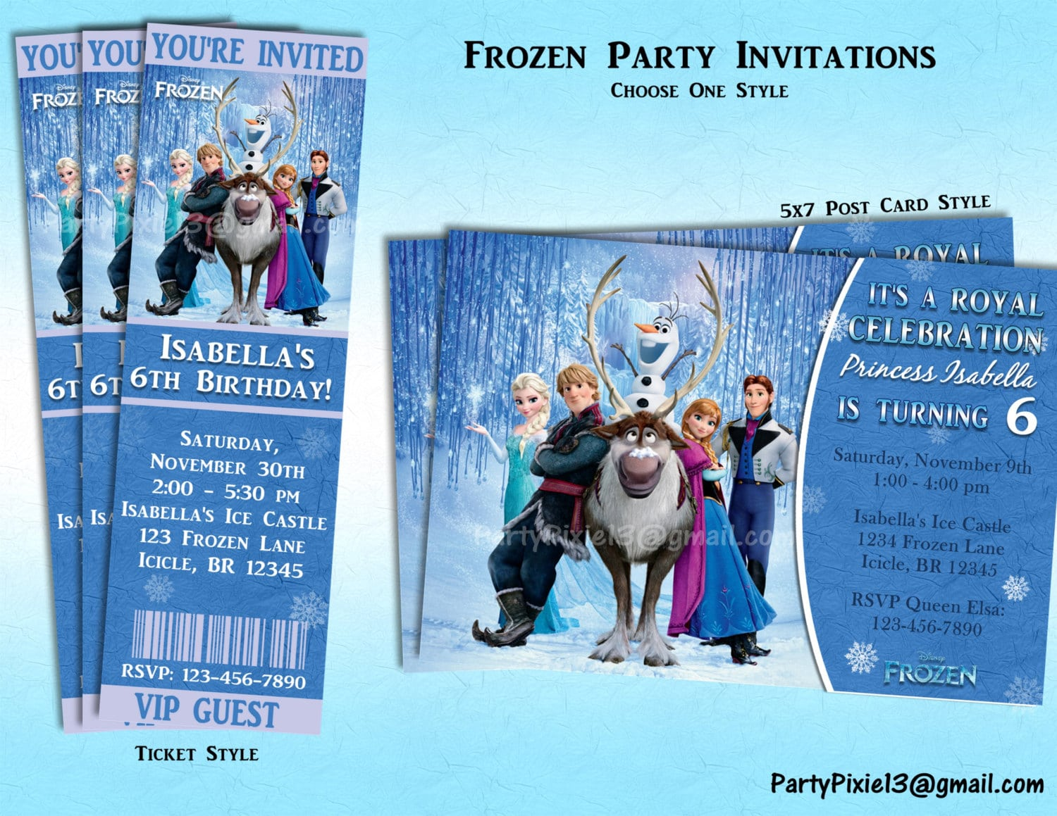 Disney Frozen Party Invitations Ticket Or 5x7 Style