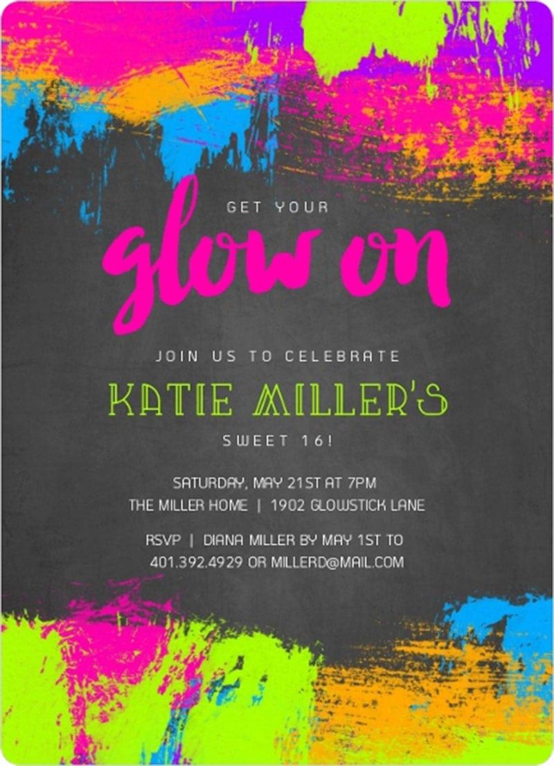 Diy Glow Party Invitations