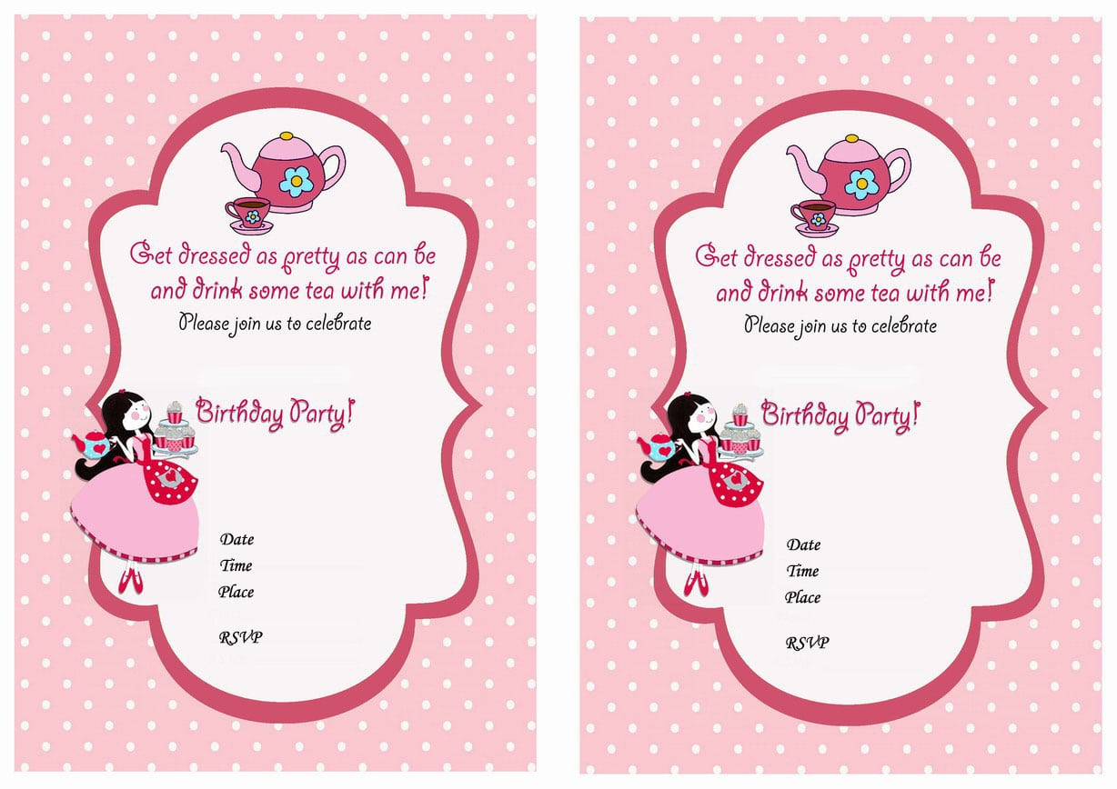 Doc  570407  Tea Party Birthday Invitations Printable – Tea Party