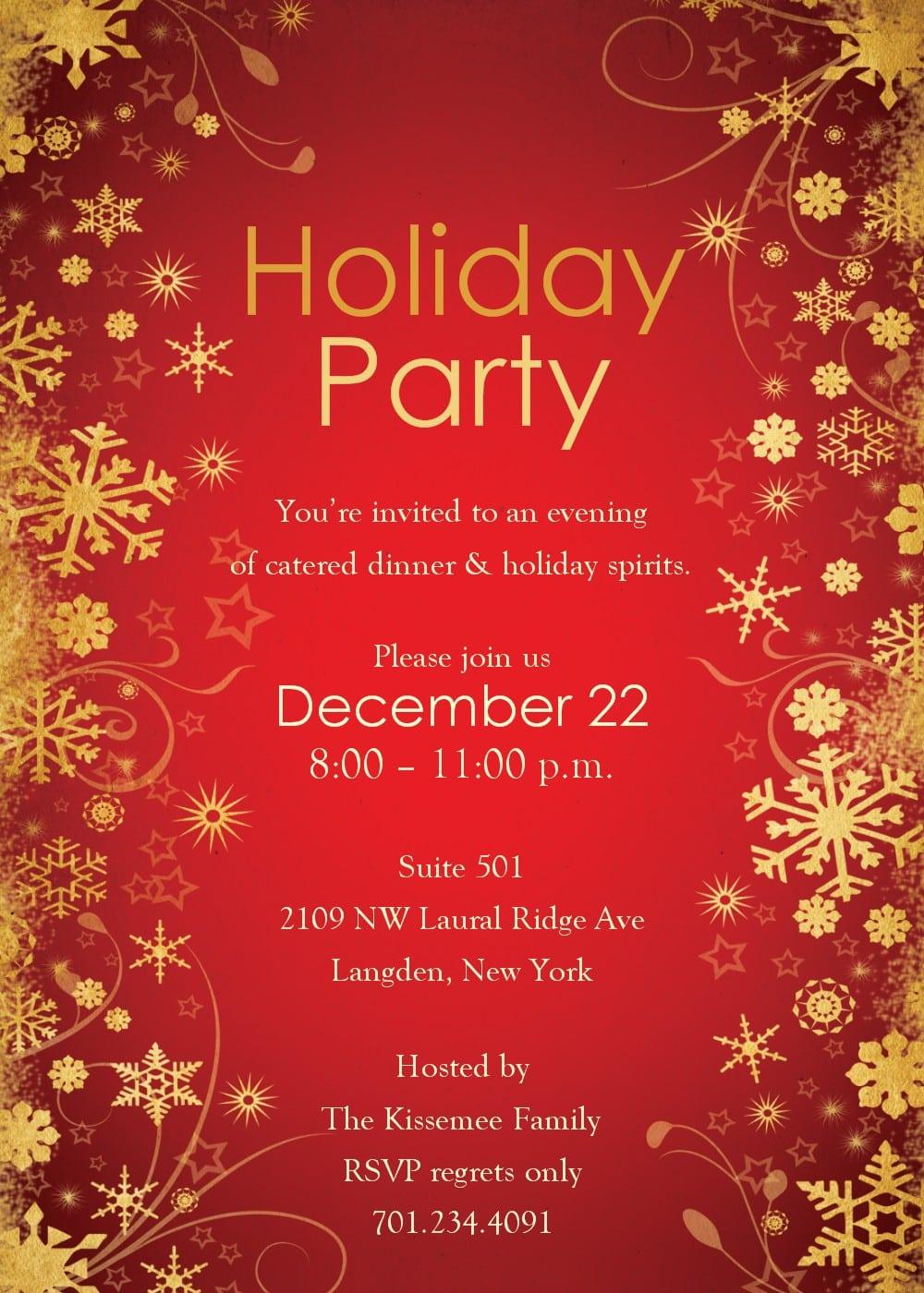 Doc  9251424  Sample Holiday Invitation – Corporate Christmas