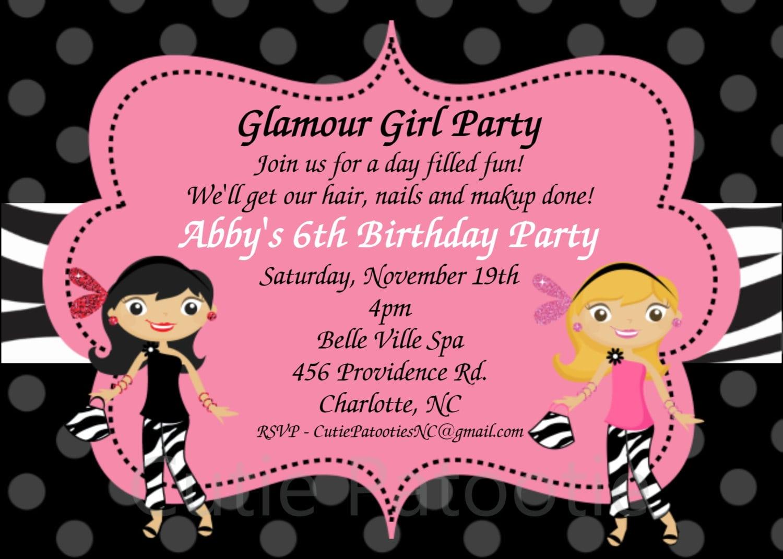 Doc    Girl Birthday Party Invitation – Glamour Girl Birthday
