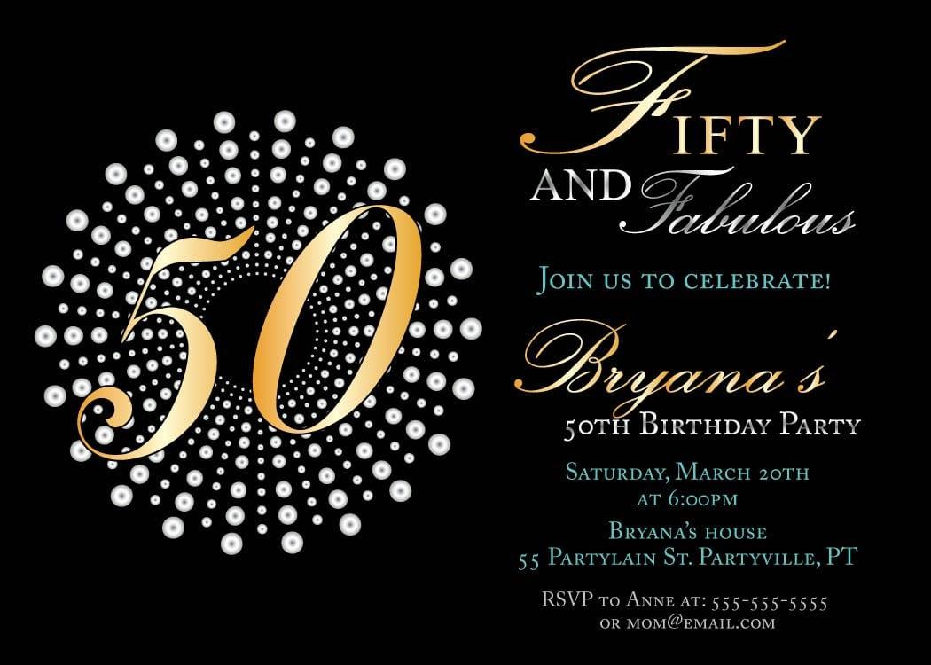 Elegant 50th Birthday Party Invitations