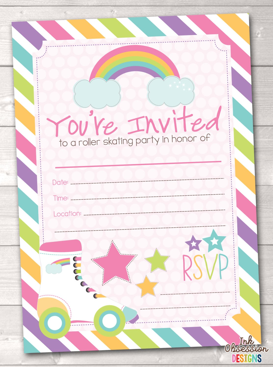 Fill In Roller Skating Party Invitations Printable Girls
