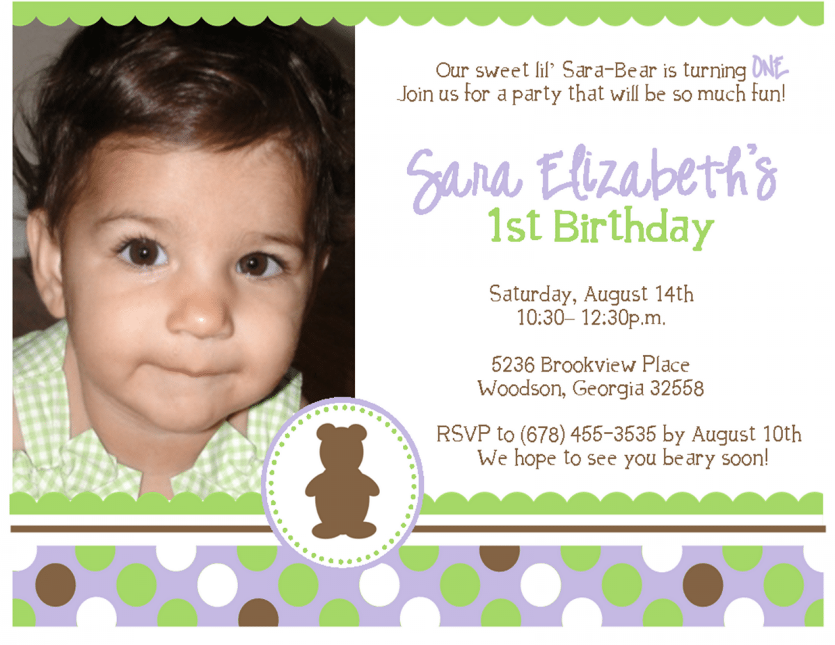 First Birthday Party Invitations Wording