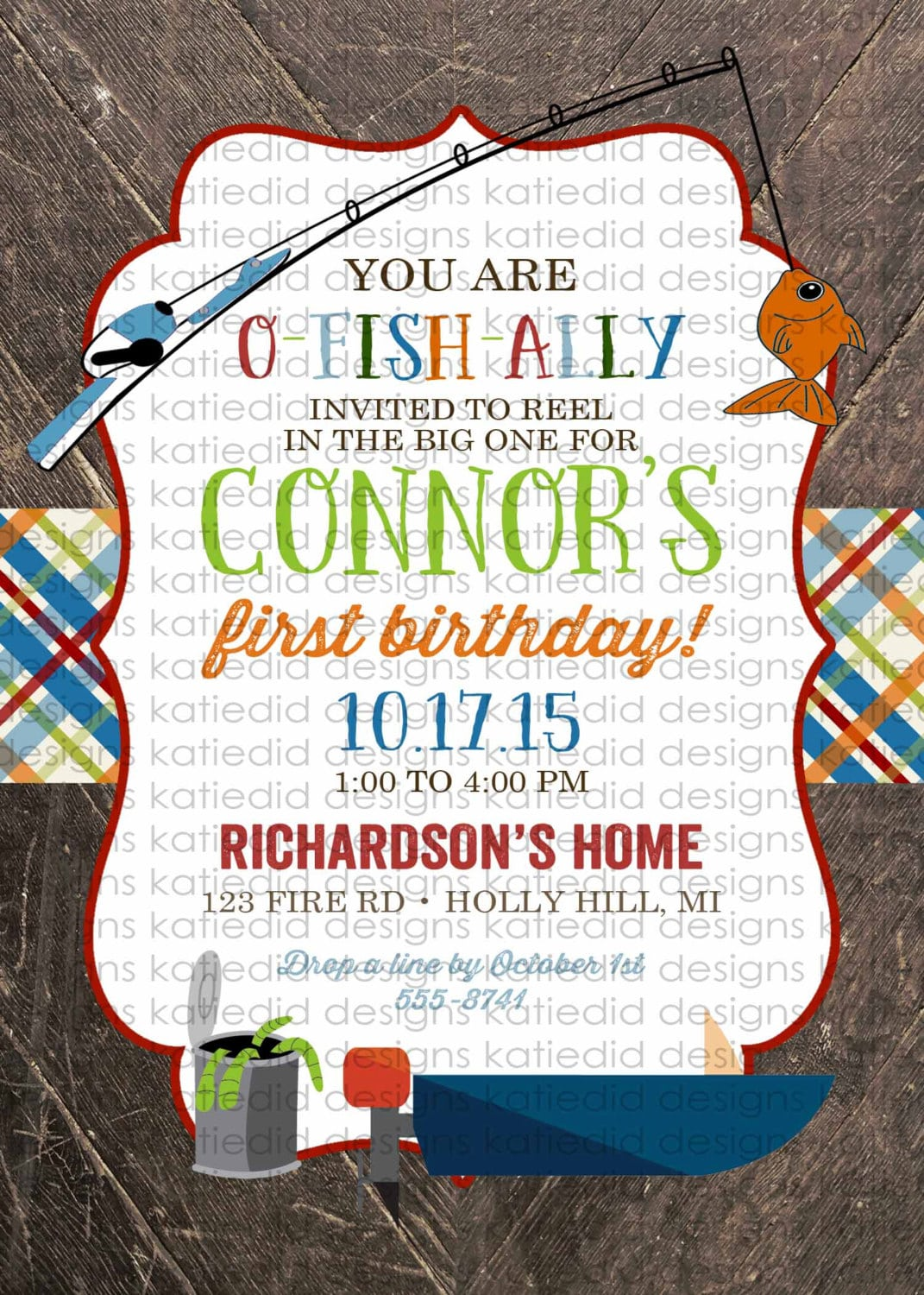 Fishing Camping Birthday Invitations Baby Boy Shower Vintage Party