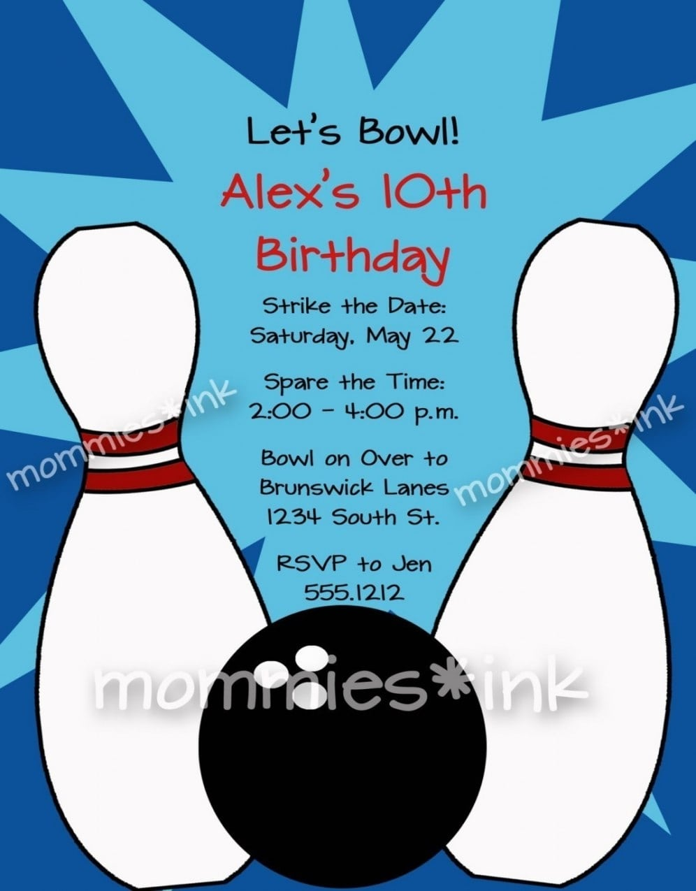 Free Bowling Party Invitations Templates With Blue Background