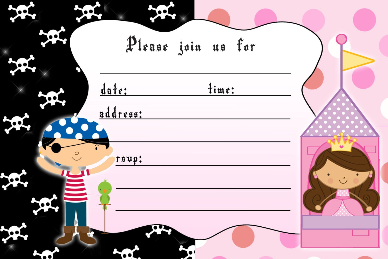 Pirates And Princess Party Invitations - Mickey Mouse Invitations ...