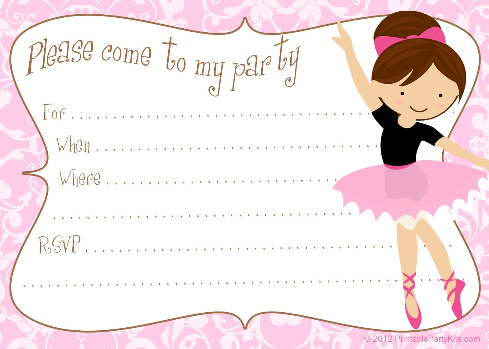 Free Printable Party Invitations  Printable Free Ballerina Party