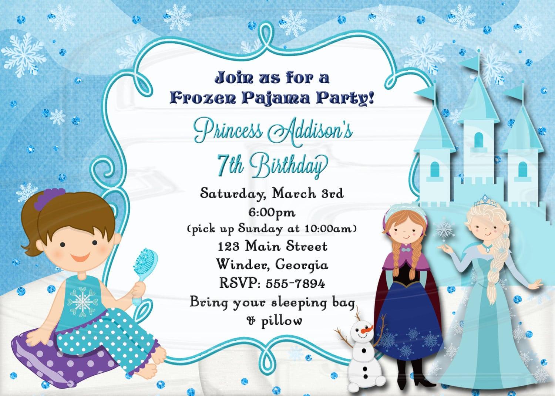 Frozen Slumber Party Invitation Pajama Party Digital File