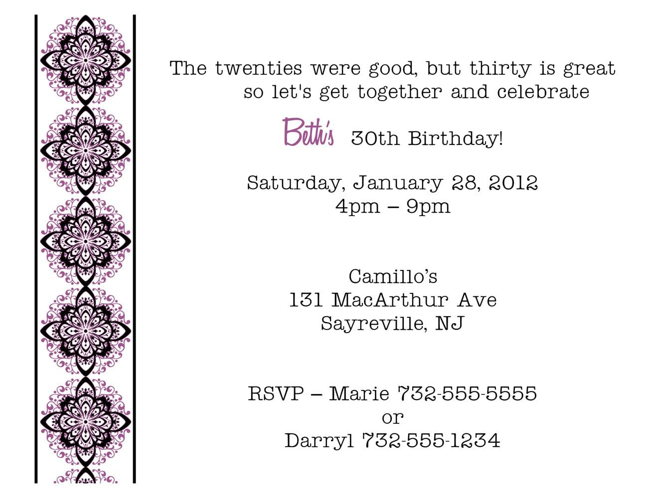 Birthday Party Invitation Text Message | View Letter