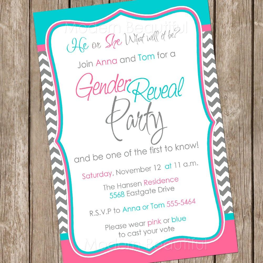 Gender Reveal Invitation Baby Reveal Invite Printable Invitation